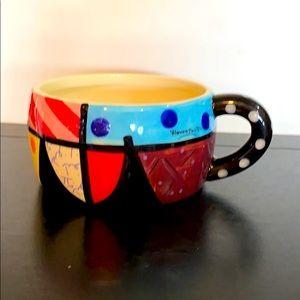 Romero Britto Coffee Mug / Soup Bowl NWOT